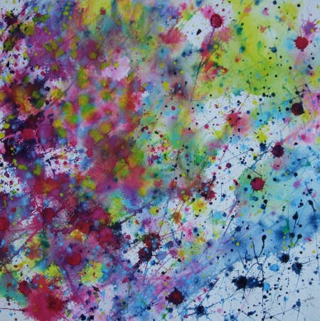 紙にグワッシュ、水彩、2012年、和田 健、抽象画